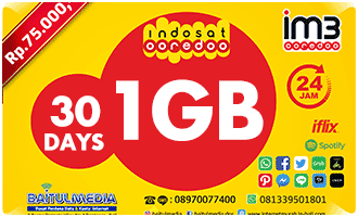 indonesia indosat Data FreedomPlus 1GB 30Days